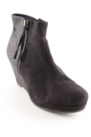 Tamaris Keil-Stiefeletten schwarz-silberfarben Materialmix-Look