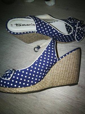 Tamaris Wedge Pumps white-blue