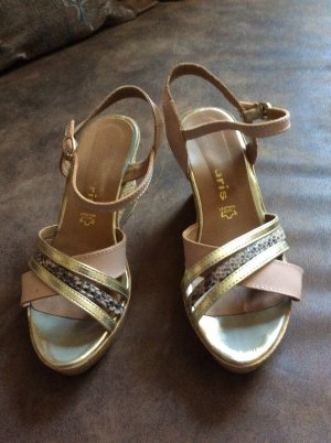 Tamaris Sandales à talons hauts et plateforme gris brun doré