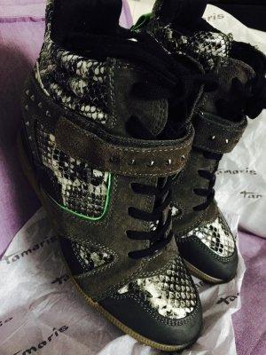 Tamaris Keilsneaker Wedges grau/Muster Echtleder Gr. 41