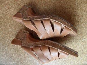 Tamaris Heel Pantolettes sand brown leather