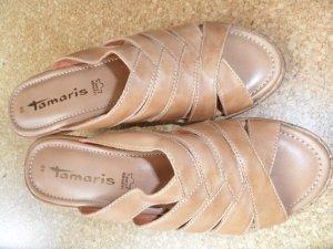 Tamaris Sandalias con tacón marrón arena Cuero