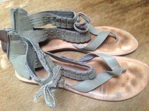 Tamaris Sandalo toe-post marrone-grigio-grigio Pelle