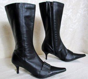 TAMARIS Leder Stiefel Größe 40 Schwarz Schnalle Pfennigabsatz
