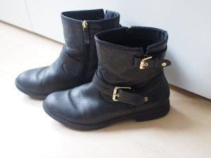 Tamaris Leder Stiefel mit Futter und goldenen Schnallen
