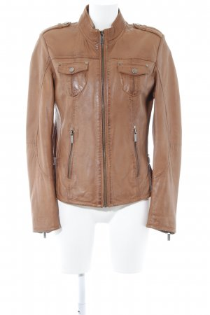 Tamaris Leather Jacket cognac-coloured casual look