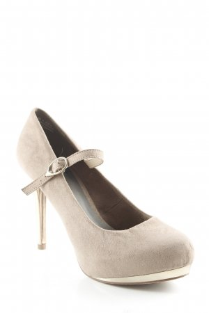 Tamaris Mary Jane Pumps grey brown-gold-colored elegant