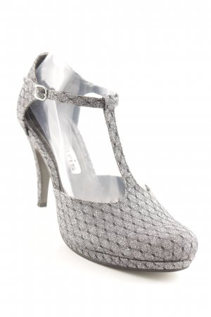 Tamaris Tacones Mary Jane negro-color plata brillante