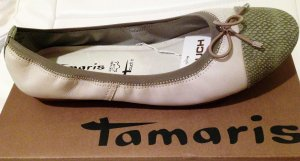 * TAMARIS * NEU m KARTON - BALLERINAS LEDER taupe grau braun Reptil 40 ( 41 )