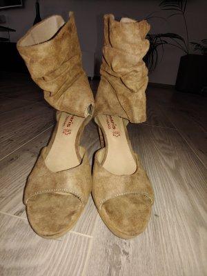 Tamaris Peep Toe Pumps grey brown