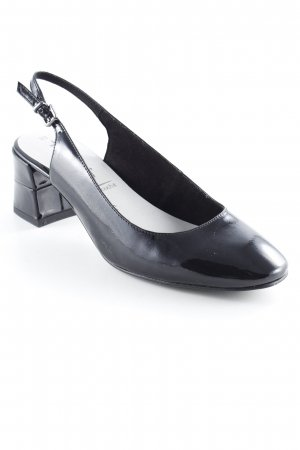 Tamaris Peep Toe Ballerinas black-cream leather-look