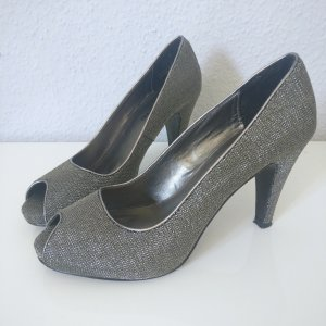 Tamaris Peep Toe Pumps light grey synthetic