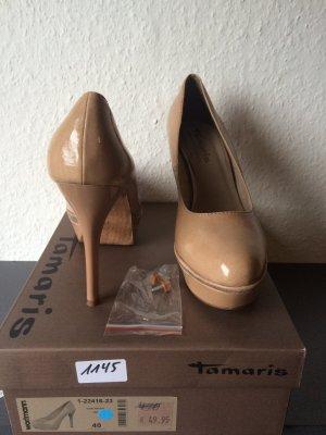 Tamaris Plateau Pumps, beige Gr. 40