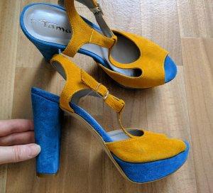 Tamaris Sandales à talons hauts et plateforme bleu acier jaune fluo daim
