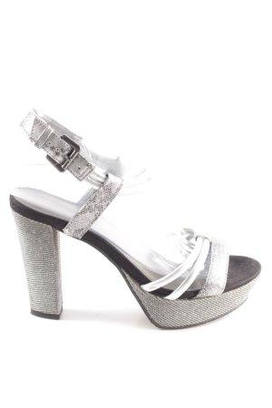 Tamaris Plateauzool Sandalen met Hoge Hakken zilver feest stijl