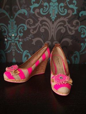 Tamaris Wedge Pumps cream-neon pink