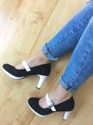 Tamaris Pumps Sandale schwarz weiß Riemen Gr. 38