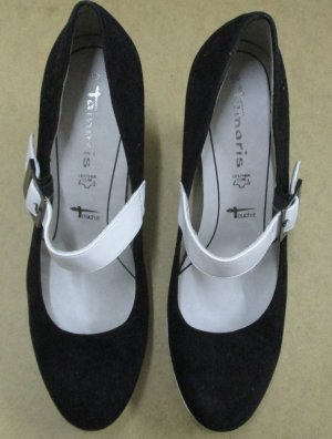 Tamaris Pumps schwarz/weiß, Gr.