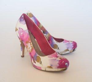 Tamaris Pumps weiß pink/violett mit Blumenmuster 36 Echtleder+Textil, neu und ungetragen