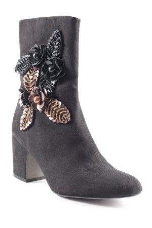 Tamaris Zipper Booties black-bronze-colored flower pattern elegant