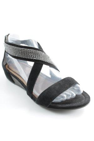 Tamaris Riemchen-Sandalen schwarz-silberfarben Casual-Look
