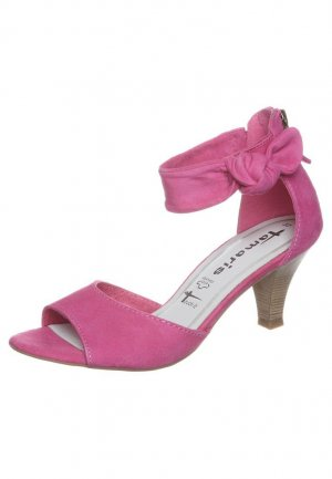 Tamaris Strapped High-Heeled Sandals pink leather