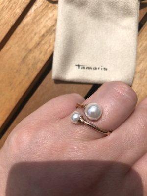 Tamaris Ring Gr. 56 Edelstahl roségold Perlen neuwertig