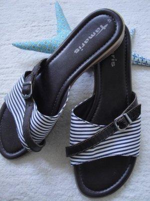 Tamaris * % SALE % Edle Sommer Pantolette * schwarz-weiß-braun * 41 wNEU
