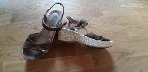 Tamaris Platform Sandals ocher-oatmeal leather