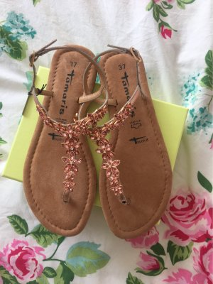 Tamaris Sandalo toe-post color oro rosa-bronzo
