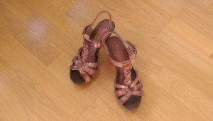Tamaris Platform High-Heeled Sandal cognac-coloured-light brown leather