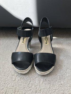 Tamaris Sandalen schwarz/natur/weiß mit Fesselriemen