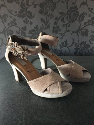 Tamaris Platform High-Heeled Sandal beige suede