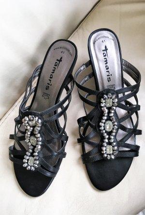 * TAMARIS * SANDALETTEN SANDALEN Leder schwarz Strass Perlen Glamour Gr 41