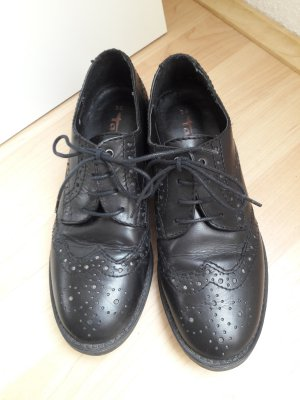 Tamaris schicke Halbschuhe Budapester Stil schwarz Leder Gr. 36