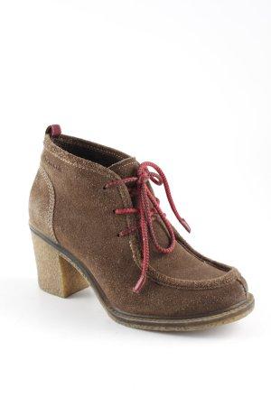 Tamaris Patucos con cordones marrón-rojo estilo country