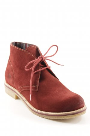 Tamaris Lace-up Booties dark red casual look