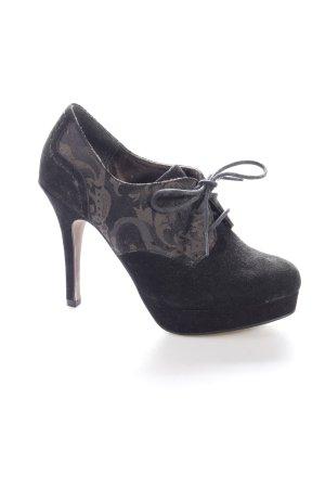 Tamaris Schnür-Stiefeletten schwarz-schwarzbraun abstraktes Muster