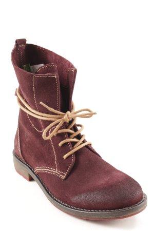 Tamaris Bottes à lacets rouge mûre-chameau style classique
