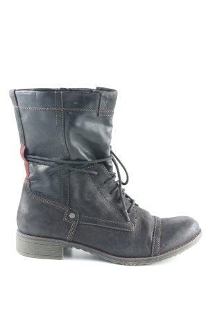 Tamaris Aanrijg laarzen zwart-bordeaux casual uitstraling