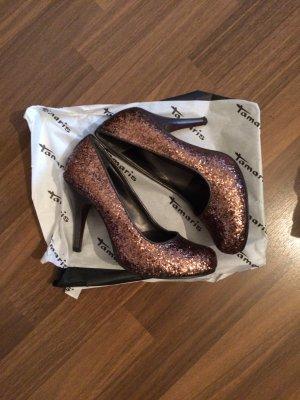 Tamaris Schuhe Glitzer Bronze