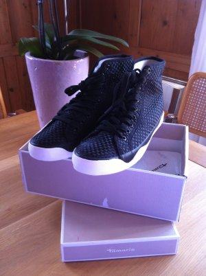Tamaris Sneaker alta nero Lino