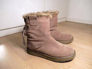 Tamaris Bottes de neige gris brun cuir
