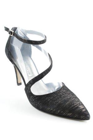 Tamaris Spitz-Pumps schwarz-silberfarben Streifenmuster Elegant