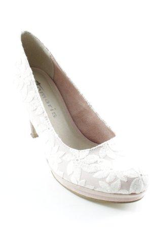 Tamaris Pointed Toe Pumps white-pink flower pattern elegant