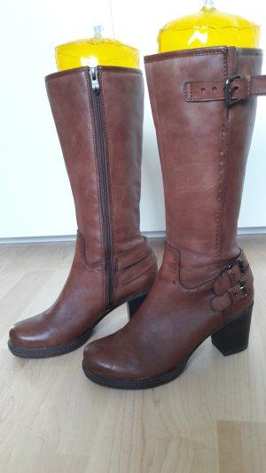 Tamaris Stiefel Leder dunkelbraun Blockabsatz Gr. 36