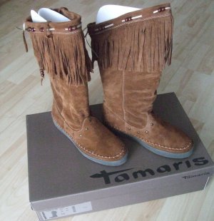 Tamaris - Stiefel mit Fransen  - Wildleder - Gr. 40 - NEU