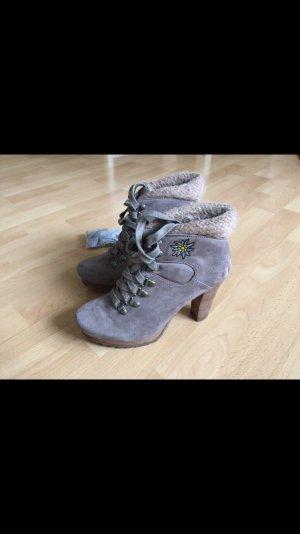 Tamaris Bottines à lacets gris brun daim