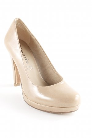 Tamaris Zapatos de tacón con barra en T beige elegante