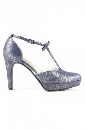 Tamaris T-Strap Pumps blue-silver-colored allover print business style